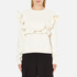 MSGM Women's Ripped Effect Frill Sweatshirt - Cream: Image 1