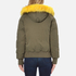 KENZO Women's Removable Yellow Fur Lined Short Parka - Dark Khaki: Image 3