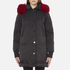 KENZO Women's Removable Red Fur Lined Long Parka - Black: Image 1