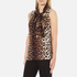 Boutique Moschino Women's Tie Neck Top - Leopard: Image 2