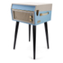 GPO Retro Bermuda Classic Style Turntable with MP3, USB, Built-In Speakers and Removable Legs - Blue/Cream: Image 2
