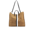 Clare V. Women's Supreme Simple Tote Bag - Camel Suede With Black/White Stripes: Image 6