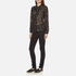 Maison Scotch Women's Sheer Printed Top with Neck Tie - Black: Image 4