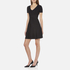 T by Alexander Wang Women's Rayon Rib Knitted Short Sleeve Flared Dress - Black: Image 2
