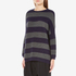 Paisie Women's Ribbed Jumper with Stripes - Navy/Grey: Image 2