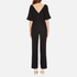 Paisie Women's Half Sleeve Jumpsuit with Low V Back - Black: Image 3