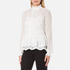 Perseverance Women's Victoriana Dobby Chiffon Blouse with Lace Cami Lining - Off White: Image 2