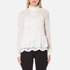 Perseverance Women's Victoriana Dobby Chiffon Blouse with Lace Cami Lining - Off White: Image 1