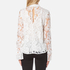 Perseverance Women's 3D Embroidered Paisley Top with Bell Sleeves and High Collar - White: Image 3