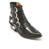 Toga Pulla Women's Buckle Side Mix Leather Heeled Ankle Boots - Black: Image 2