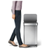 simplehuman Rectangular Brushed Steel Pedal Bin with Liner Pocket 55L: Image 2