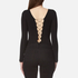 T by Alexander Wang Women's Micro Modal Spandex Lace Up Long Sleeve Bodysuit - Black: Image 2