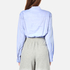 T by Alexander Wang Women's Cotton Twill Twist Front Long Sleeve Shirt - Chambray: Image 3