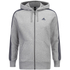 adidas Men's Essential 3 Stripe Fleece Hoody - Grey: Image 1