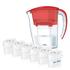 Aqua Optima 2.25L Red Galia Water Filter Jug with 6 x 60 Day Evolve Filter Cartridges (12 Month Bundle): Image 1