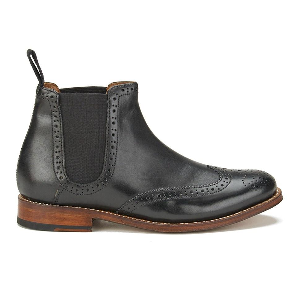 grenson s brogue chelsea boots black free