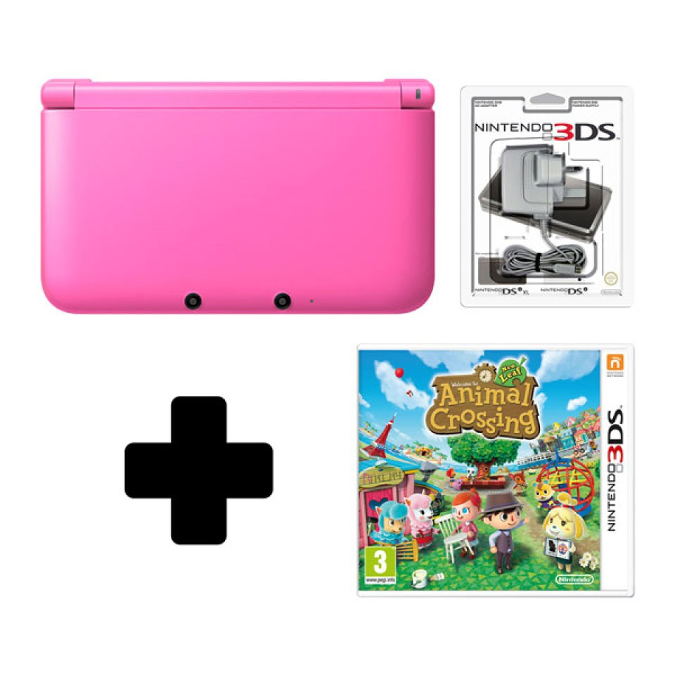 nintendo 3ds xl pink console animal crossing new leaf. Black Bedroom Furniture Sets. Home Design Ideas