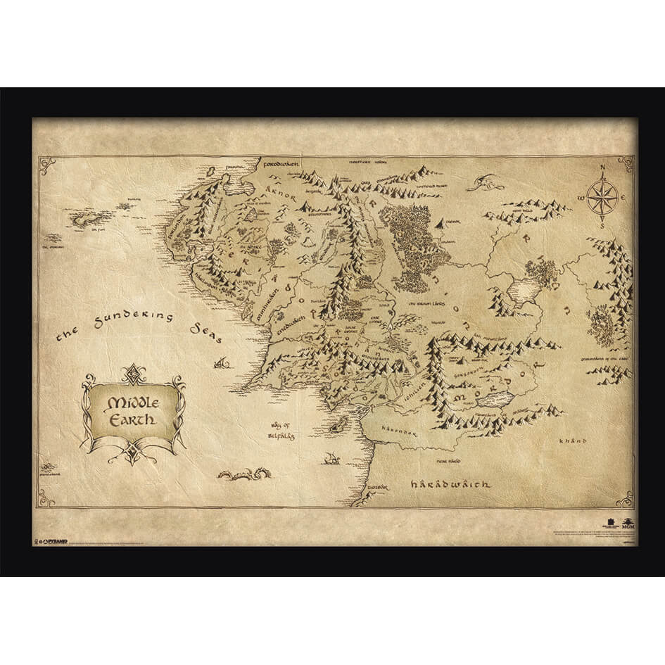 The Hobbit Middle Earth Map Framed Print 30x40 Homeware Zavvi