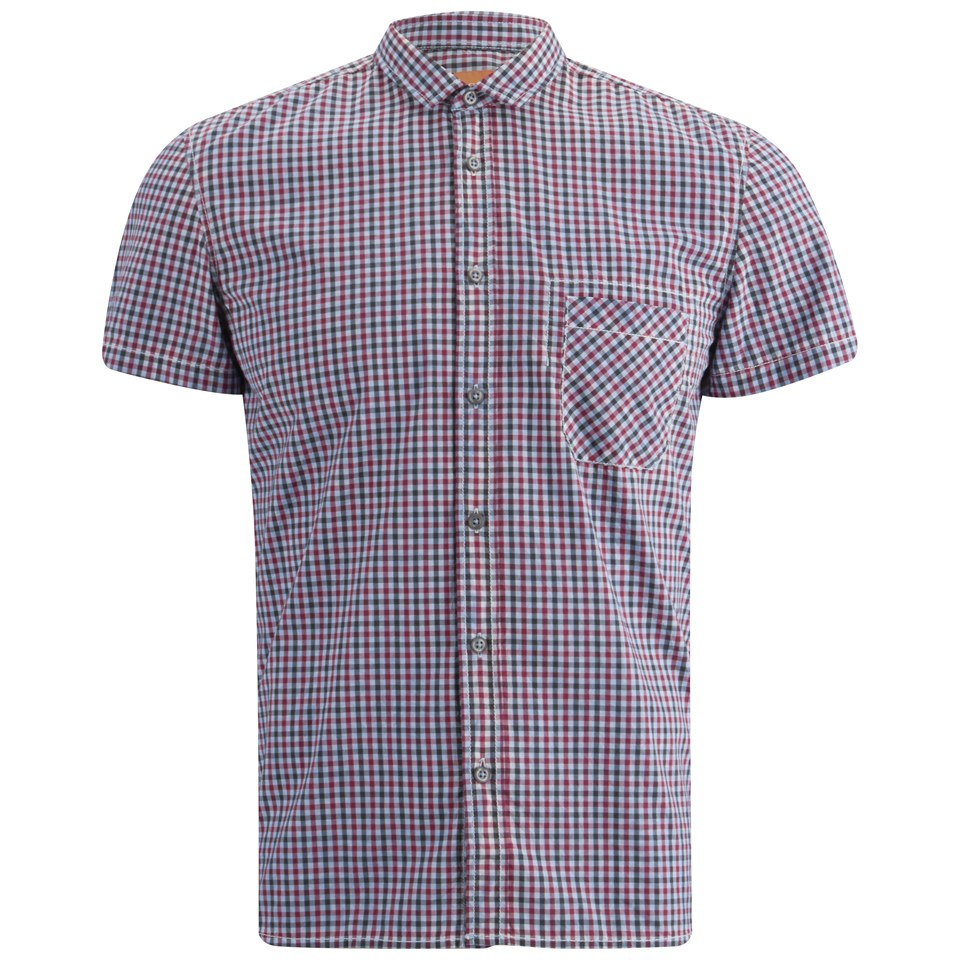 Boss orange men 39 s ezippo short sleeve gingham shirt blue for Mens blue gingham shirt