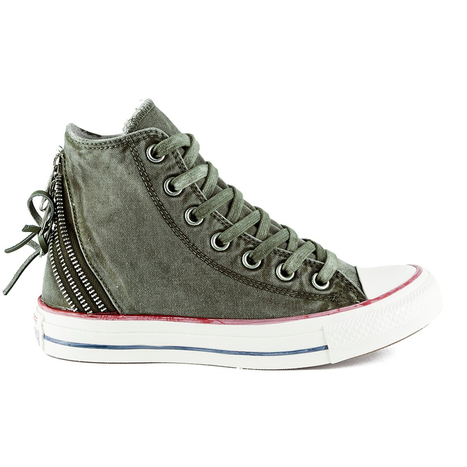 0b6ed7eac1c Converse Women s Chuck Taylor All Star Canvas Tri-Zip Hi-Top Trainers -  Surplus Green