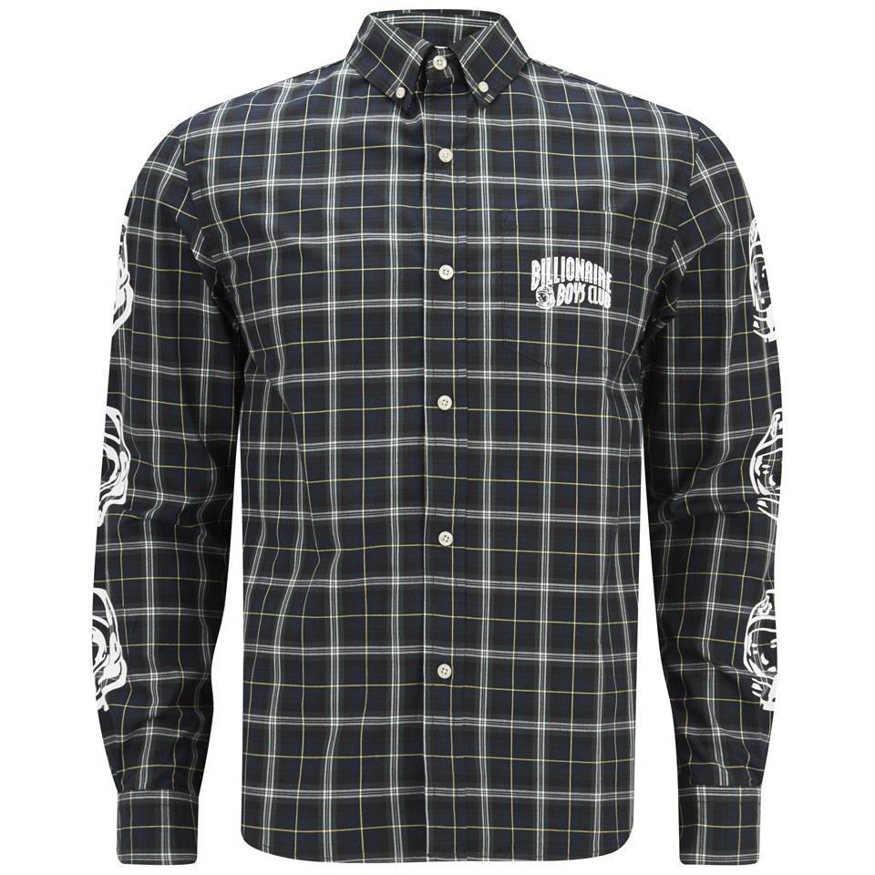 Billionaire boys club men 39 s plaid button down shirt for Green plaid button down shirt