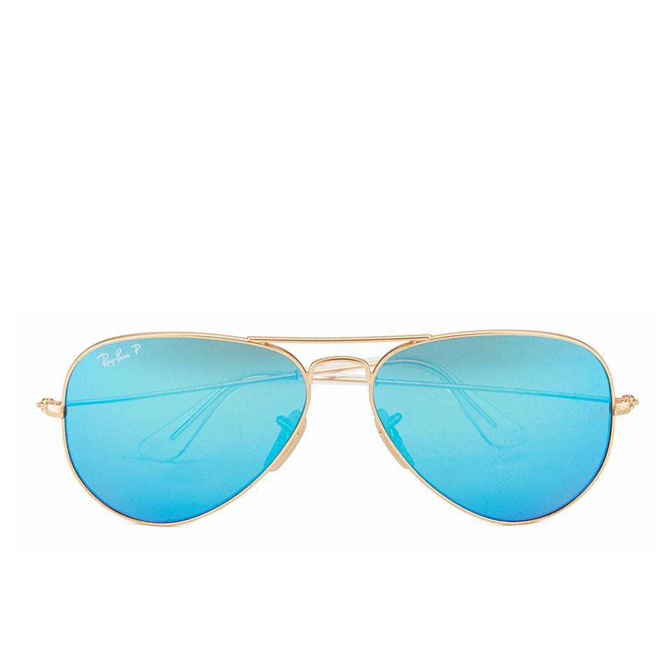 Ray Ban Aviator Large Metal Sunglasses Matte Gold Blue