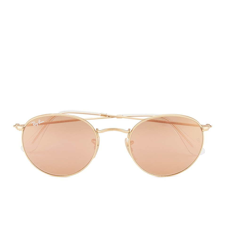 3b25e174267 Ray-Ban Round Metal Sunglasses - Matte Gold Brown Mirror Pink - 50mm