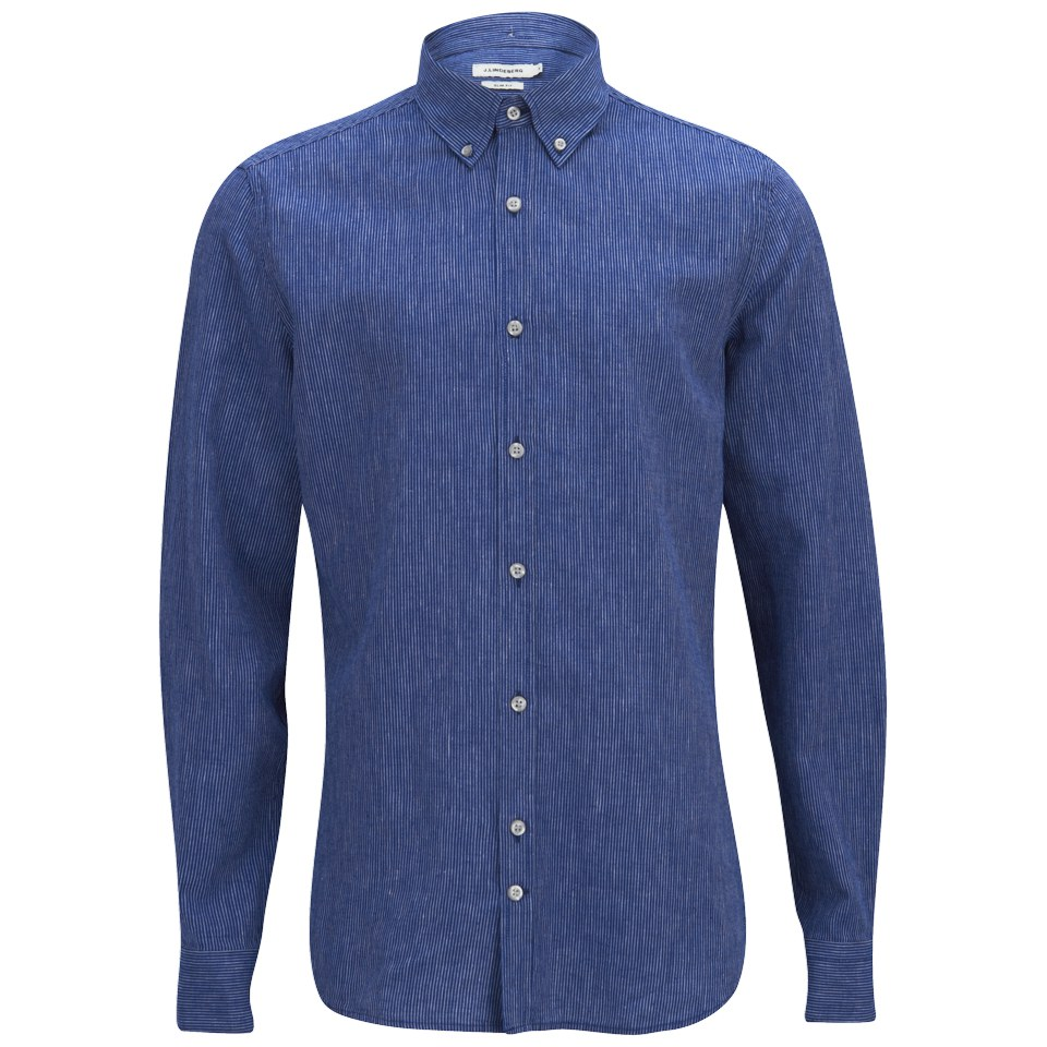 J lindeberg men 39 s dani button down linen stripe long for Mens light blue linen shirt