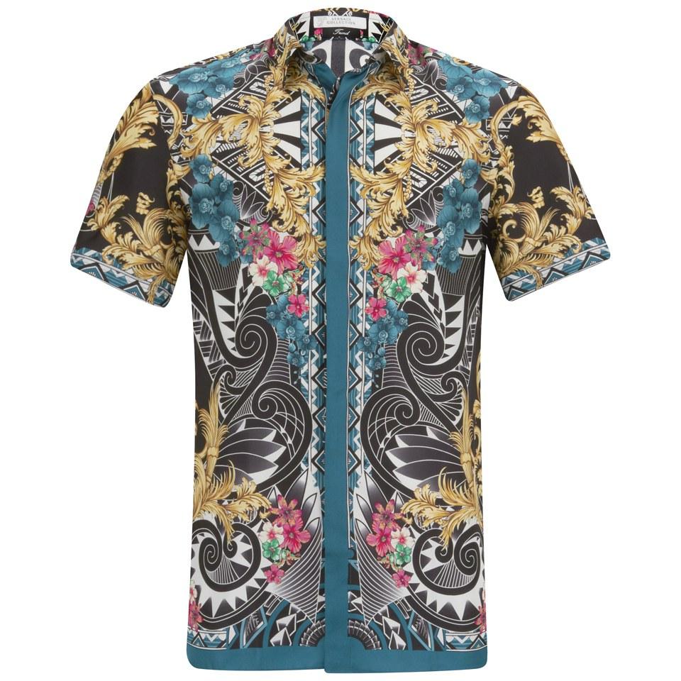 Versace Collection Men 39 S Short Sleeve Silk Fantasia Shirt