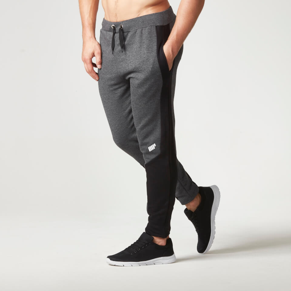 Myprotein Men s Panelled Slimfit Sweatpants with Zip - Charcoal fb357592fd