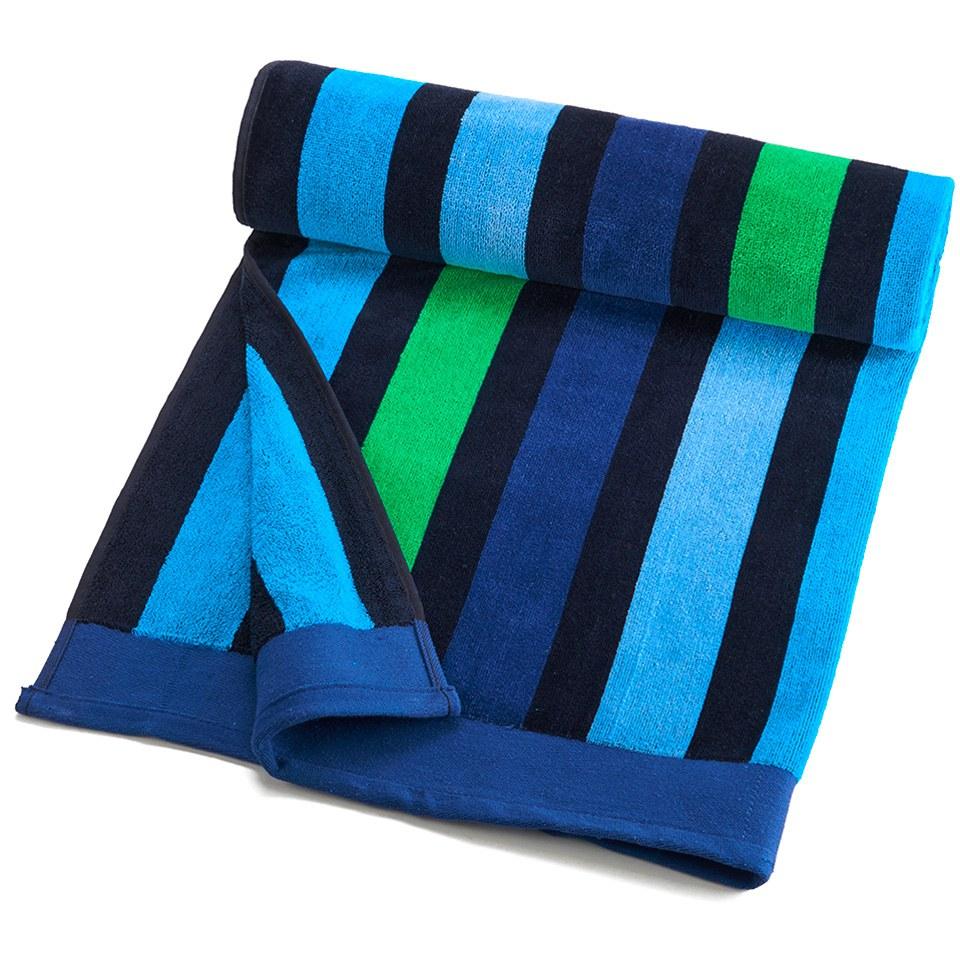 Ralph Lauren Mens Beach Towel: Multi Stripe Velour Beach Towel