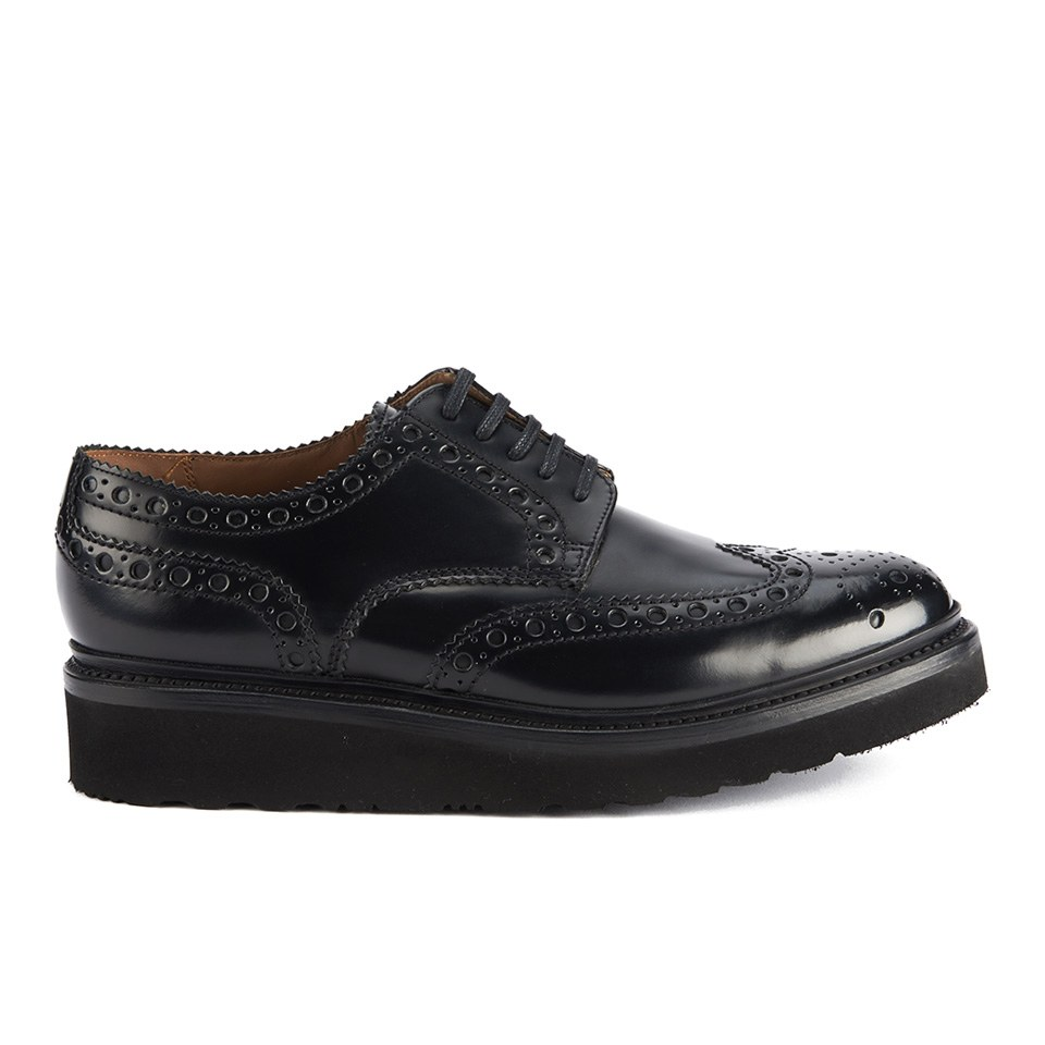 Grenson Men S Archie V Leather Brogues Black Rub Off