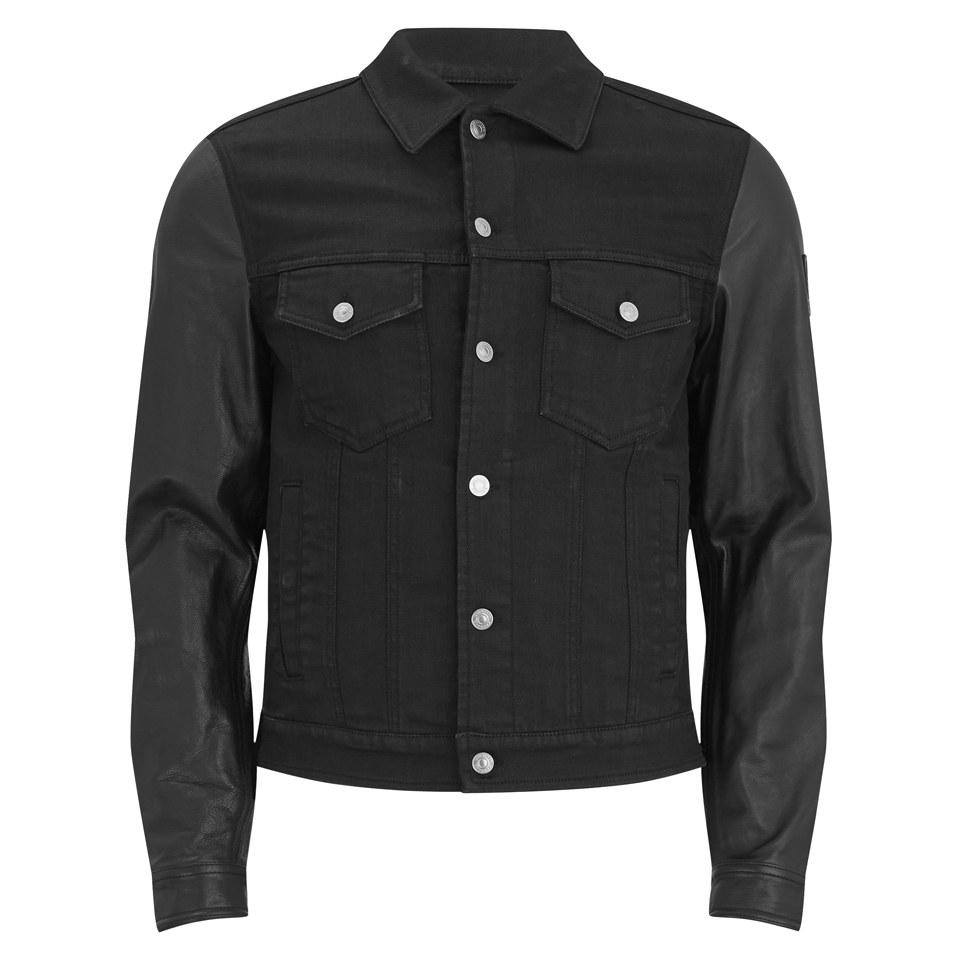 Belstaff Denim Jacket Leather Sleeves