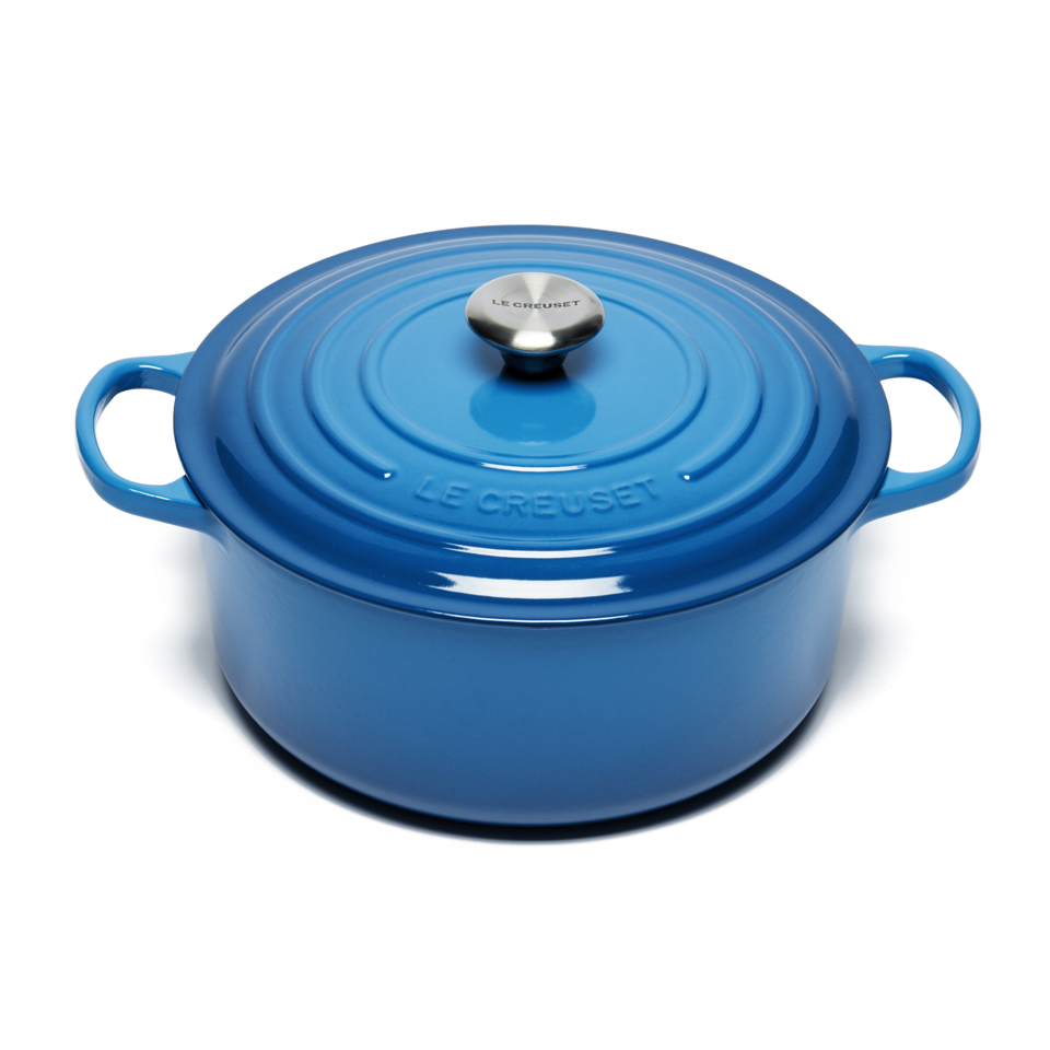 le creuset signature cast iron round casserole dish 28cm marseille blue homeware. Black Bedroom Furniture Sets. Home Design Ideas