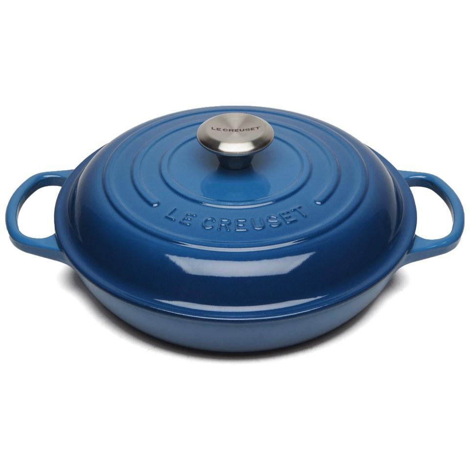 le creuset signature cast iron shallow casserole dish 26cm marseille blue iwoot. Black Bedroom Furniture Sets. Home Design Ideas