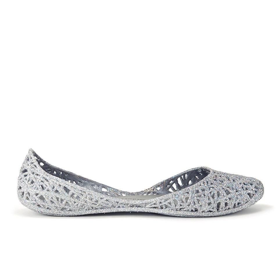 Melissa Women's Campana Zig Zag 14 Ballet Flats - Silver Glitter ...