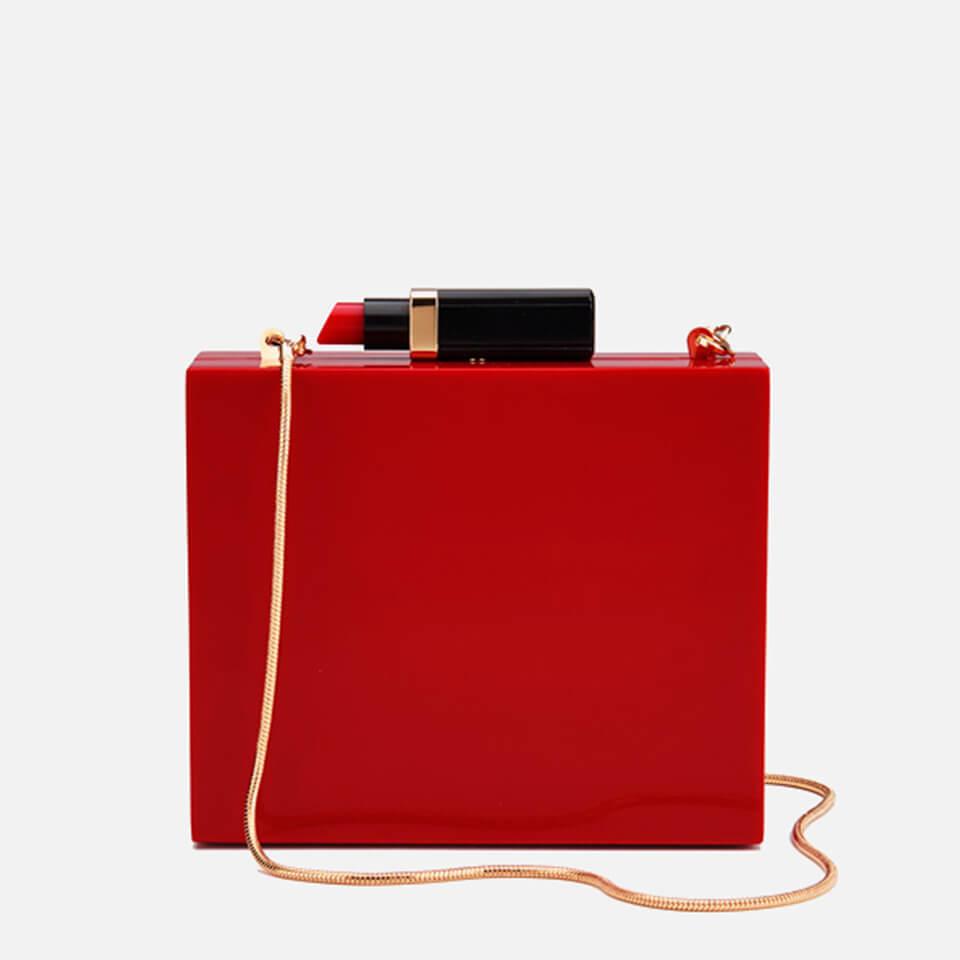 a073c21eaf264 Lulu Guinness Women s Chloe Perspex Clutch Bag with Lipstick - Red