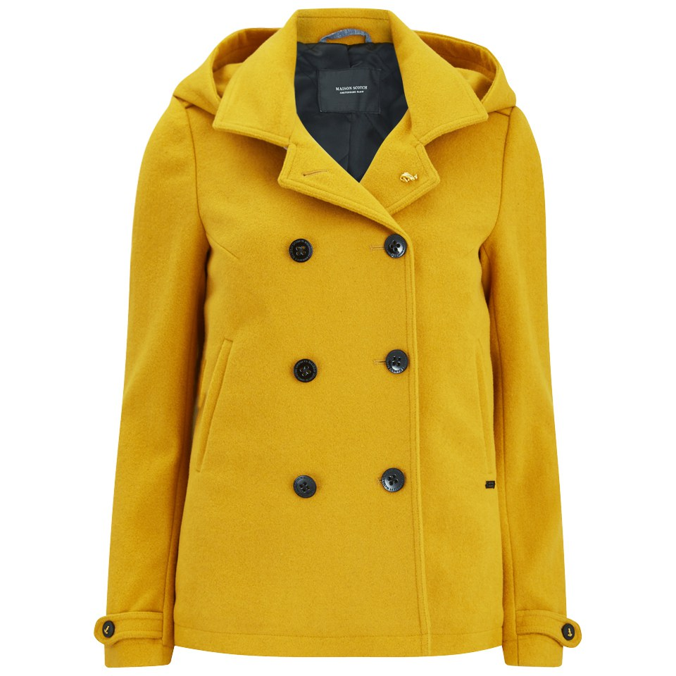 Maison Scotch Women's Wool Peacoat - Yellow Womens Clothing ...