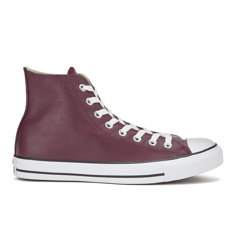 Converse Men's Chuck Taylor All Star Seasonal Leather Hi-Top Trainers -  Deep Bordeaux/Black/White Mens Footwear | TheHut.com