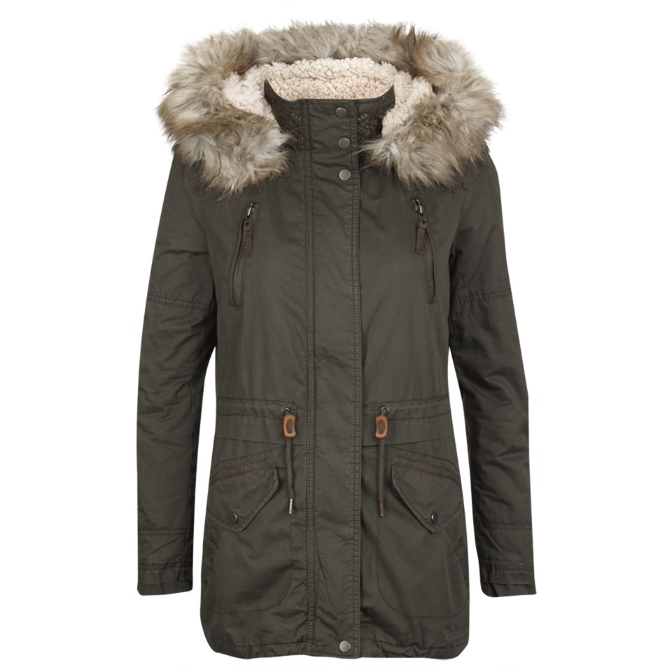 Only Womens Lee Canvas Parka Coat Peat Womens Clothing