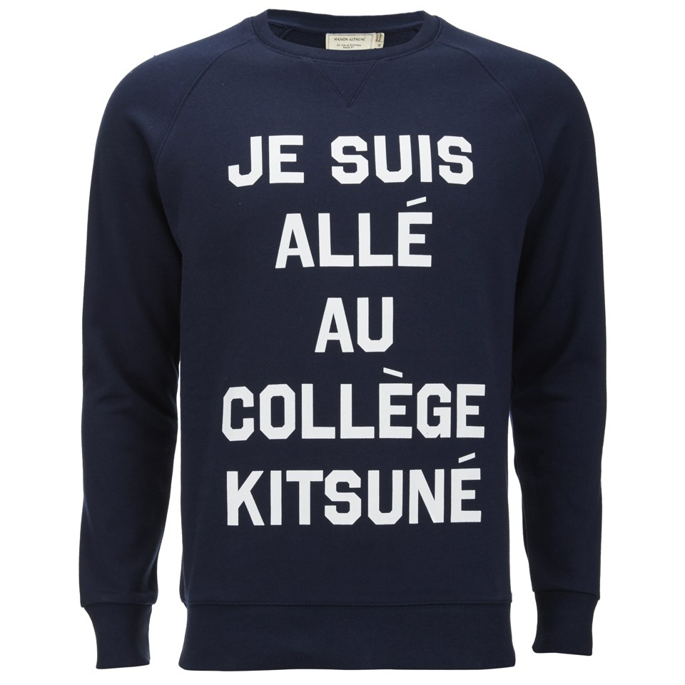 maison kitsun men 39 s je suis alle sweatshirt navy free uk delivery over 50. Black Bedroom Furniture Sets. Home Design Ideas