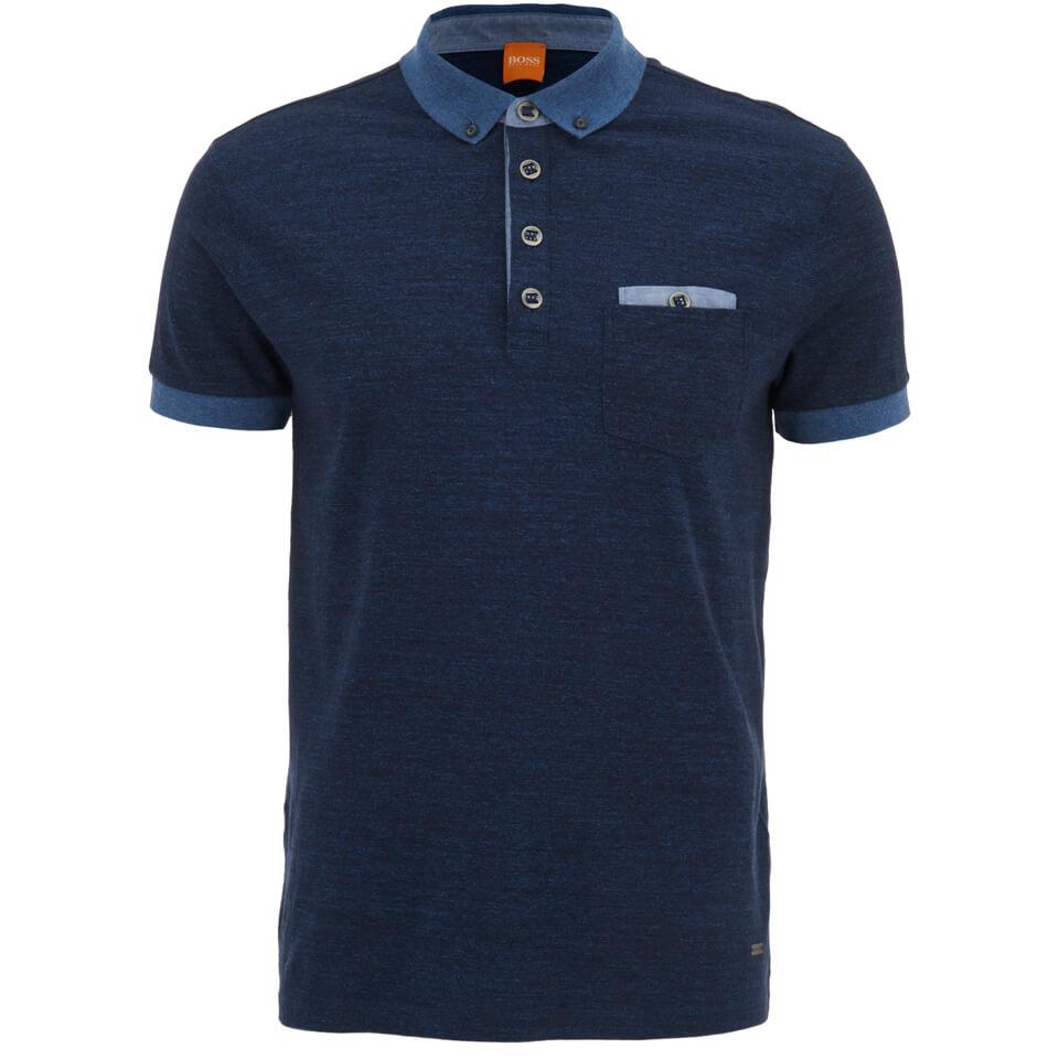 Boss Orange Men 39 S Patches 1 Button Down Polo Shirt Blue