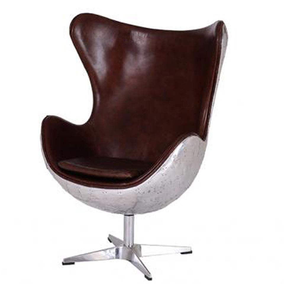 vintage aviator leather aluminium egg chair iwoot. Black Bedroom Furniture Sets. Home Design Ideas