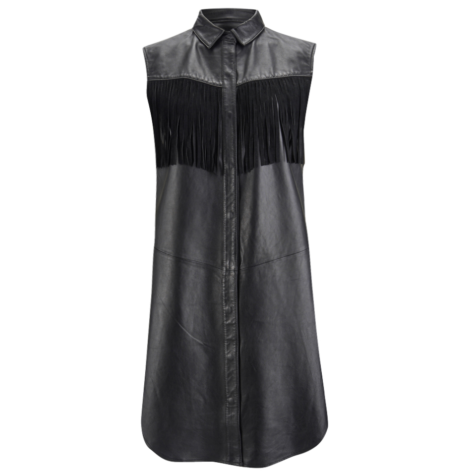 Ganni Women S Leather Fringed Shirt Dress Black Womens