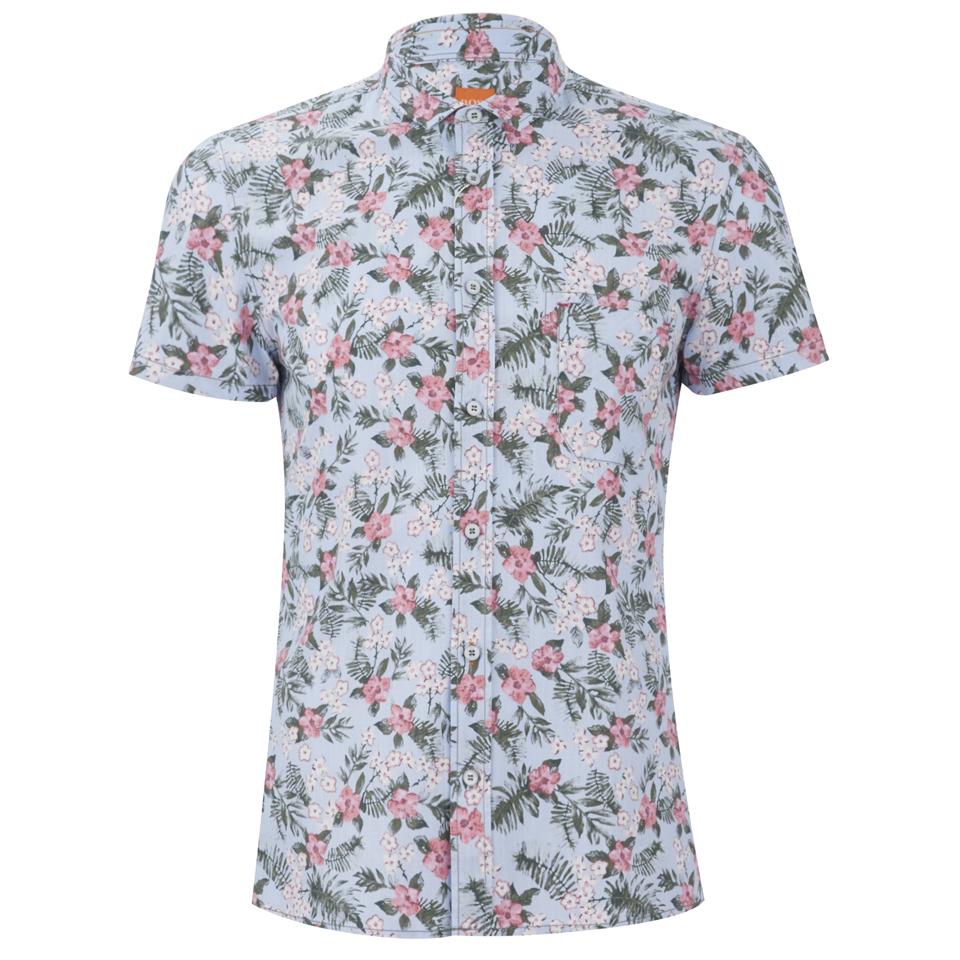 Boss orange men 39 s ezippoe1 floral short sleeve shirt for Mens short sleeve floral shirt
