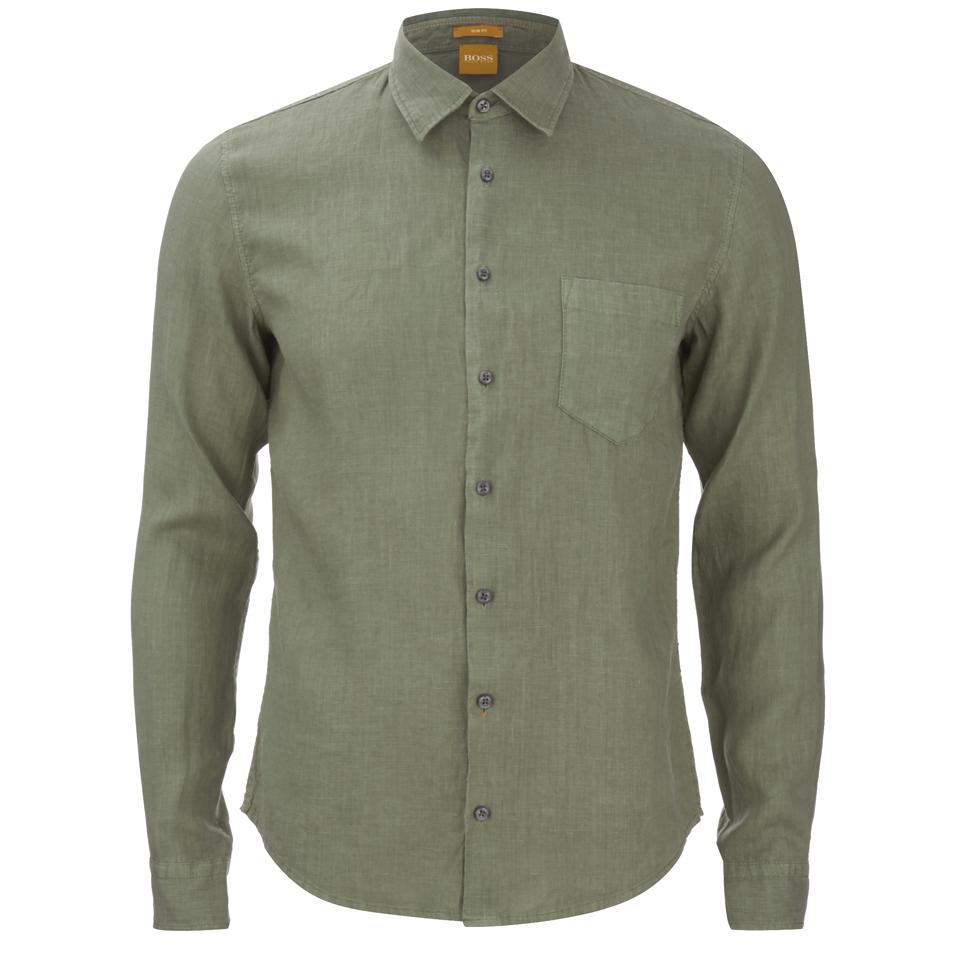Boss Orange Men S Enamee Linen Shirt Khaki Mens Clothing