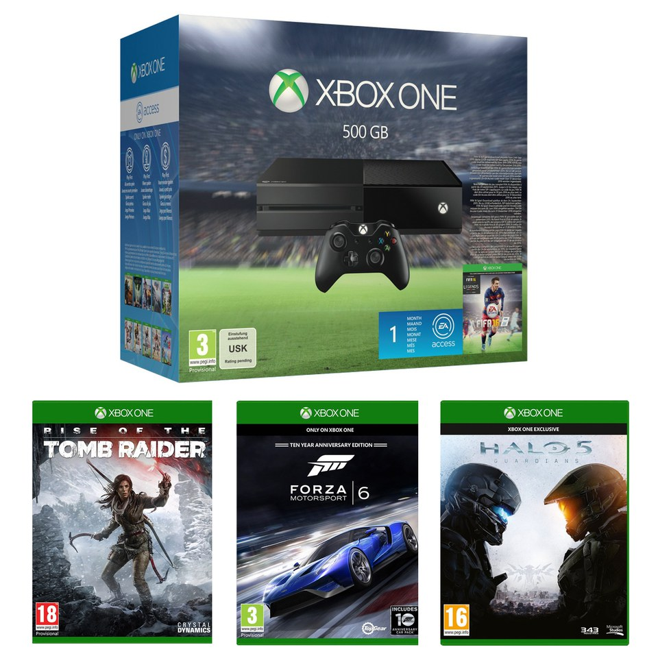 Xbox One 500GB With FIFA 16, Halo 5, Forza 6 & Rise Of The