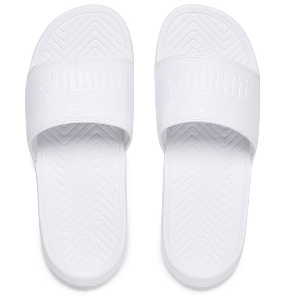 puma popcat slide sandals triple white womens