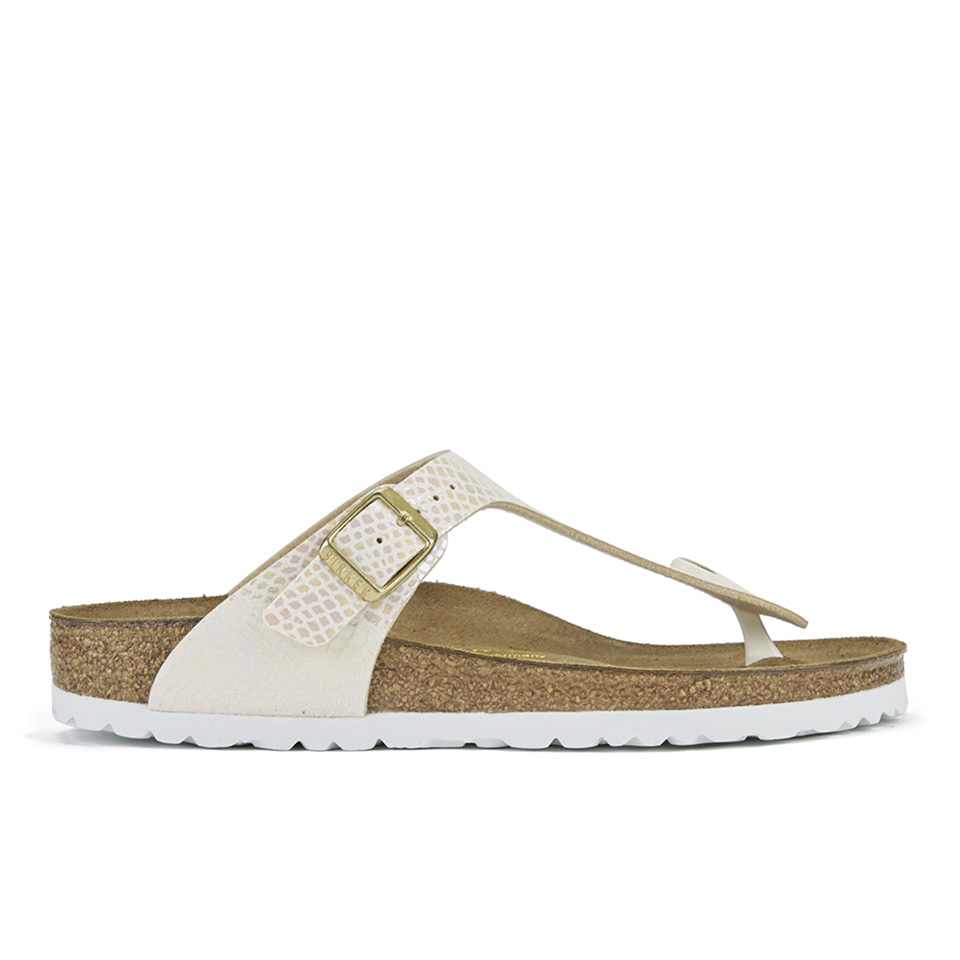 8447fc43f9b Birkenstock Women s Gizeh Shiny Snake Toe-Post Sandals - Cream ...