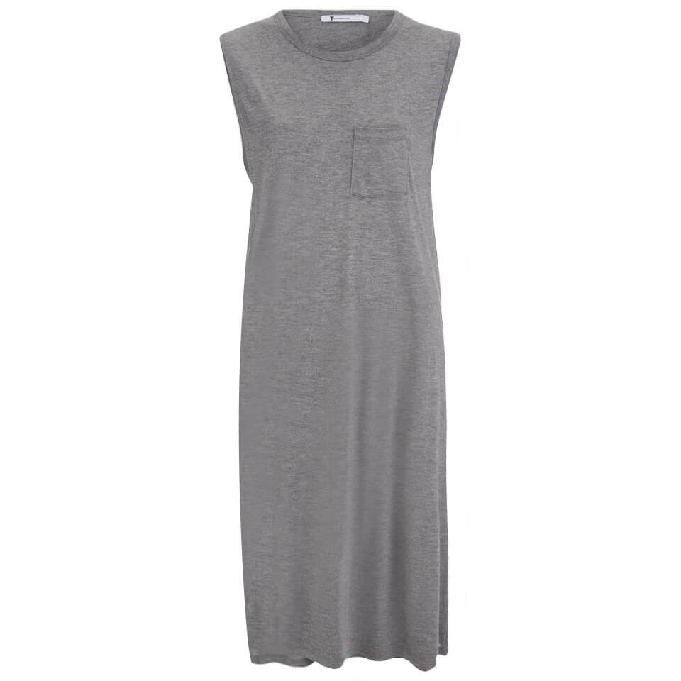 T By Alexander Wang Womens Classic Crew Neck Dress With Chest